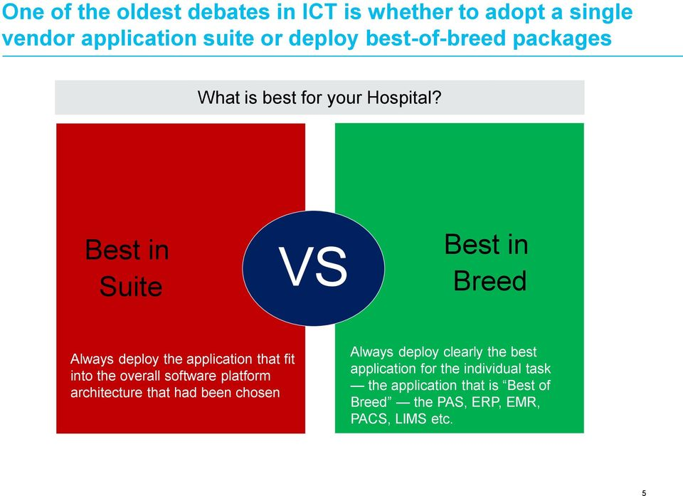 Best in Suite VS Best in Breed Always deploy the application that fit into the overall software platform
