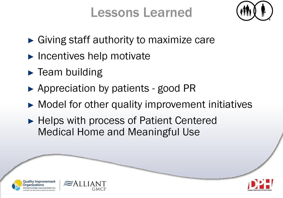 patients - good PR Model for other quality improvement