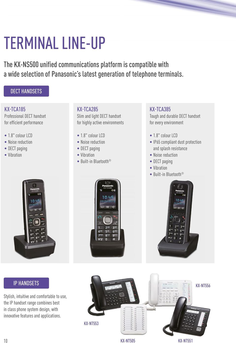 "8"" colour LCD Noise reduction DECT paging Vibration KX-TCA285 Slim and light DECT handset for highly active environments 1."