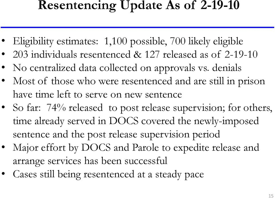 denials Most of those who were resentenced and are still in prison have time left to serve on new sentence So far: 74% released to post release