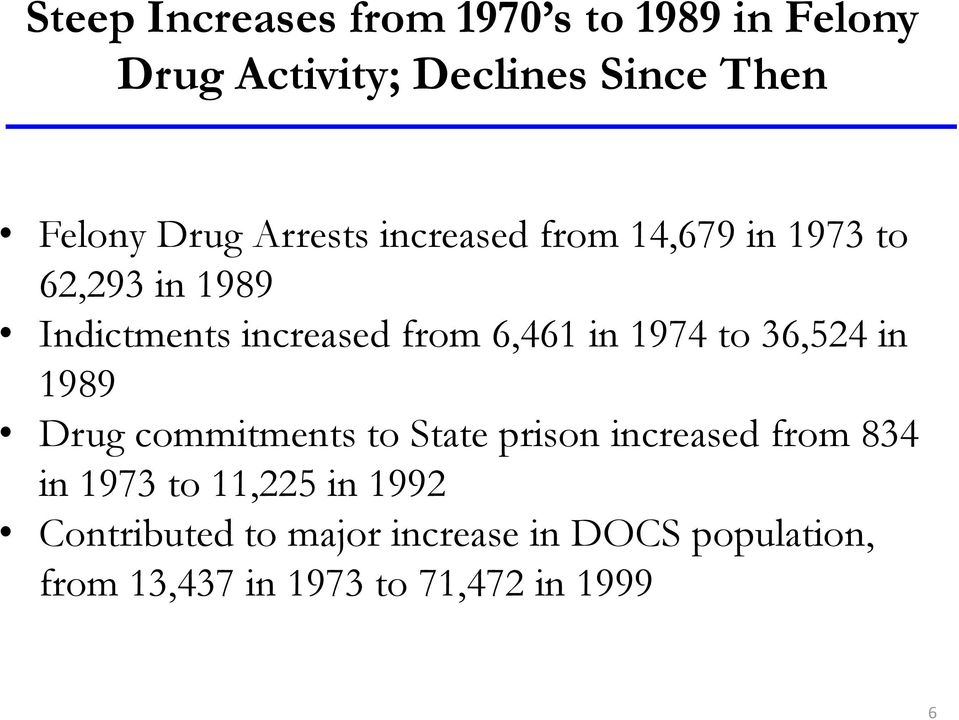 1974 to 36,524 in 1989 Drug commitments to State prison increased from 834 in 1973 to 11,225