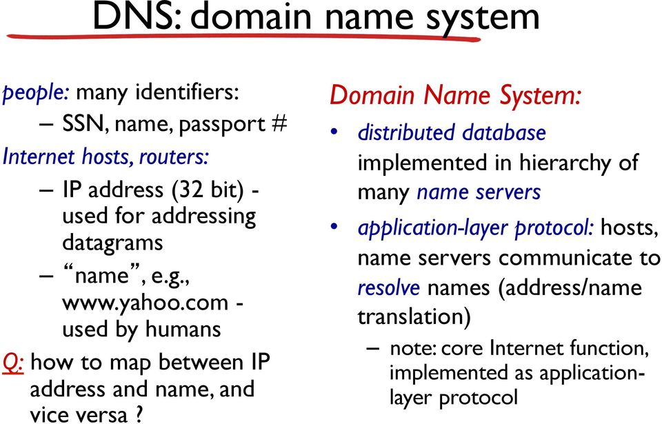 Domain Name System: distributed database implemented in hierarchy of many name servers application-layer protocol: hosts, name