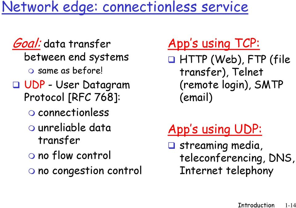no congestion control App s using TCP: HTTP (Web), FTP (file transfer), Telnet (remote login),