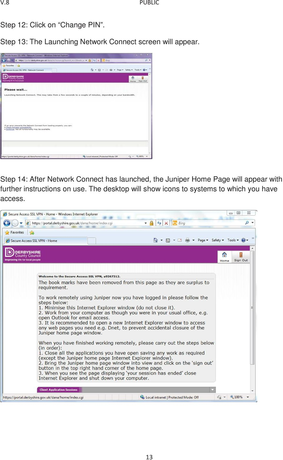 Step 14: After Network Connect has launched, the Juniper Home Page