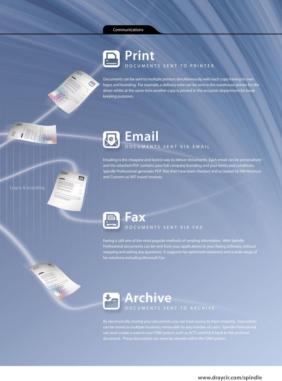 Emailing is the cheapest and fastest way to deliver documents. Each email can be personalised and the attached PDF contains your full company branding and your terms and conditions.