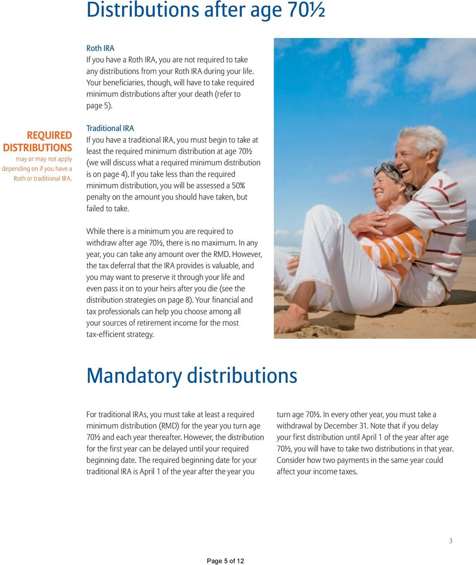 REQUIRED DISTRIBUTIONS may or may not apply depending on if you have a Roth or traditional IRA.