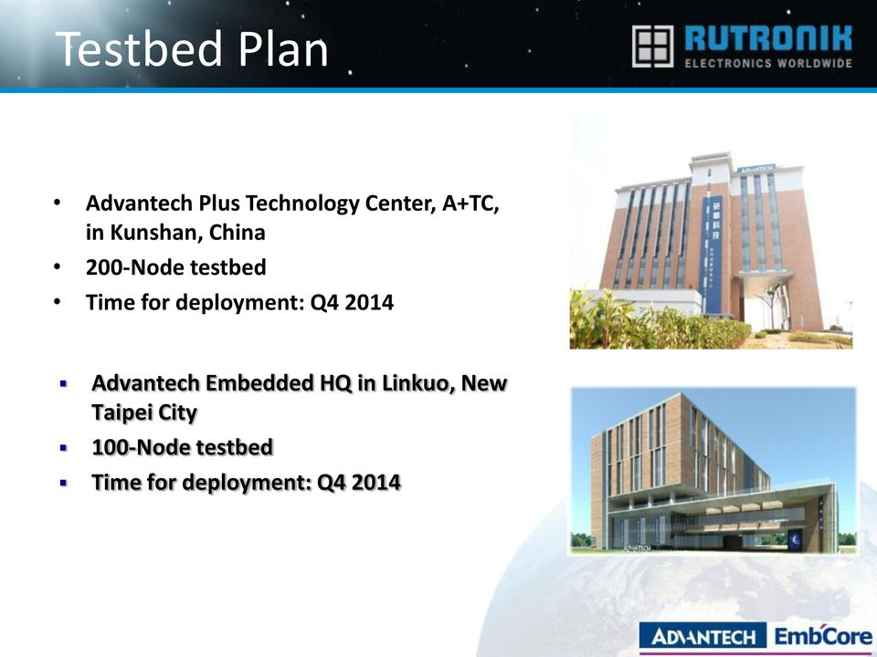 deployment: Q4 2014 Advantech Embedded HQ in Linkuo,