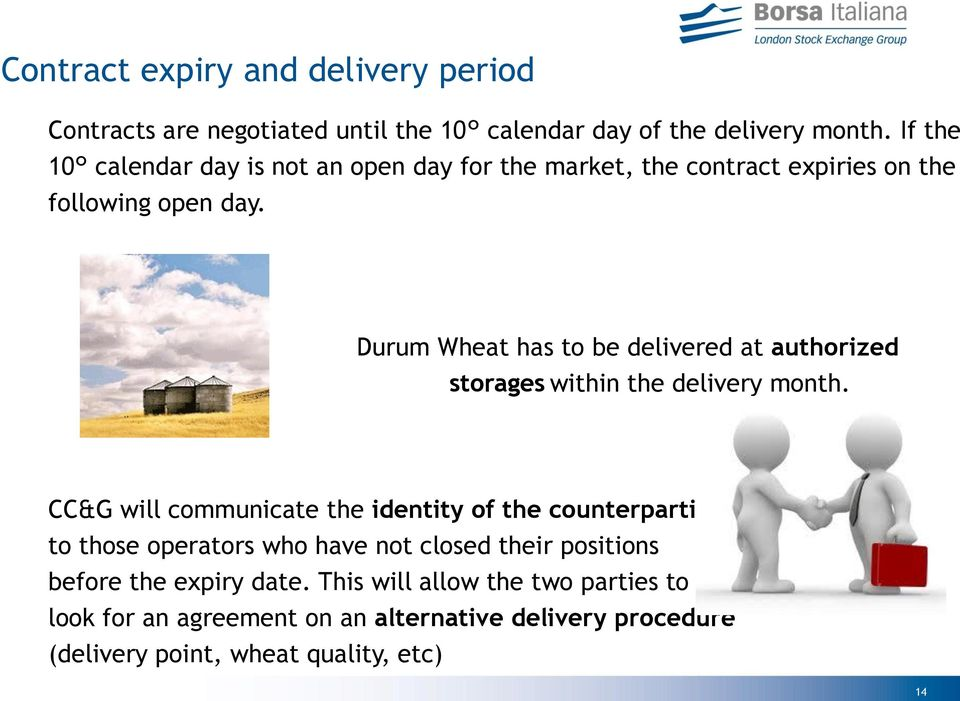 Durum Wheat has to be delivered at authorized storages within the delivery month.