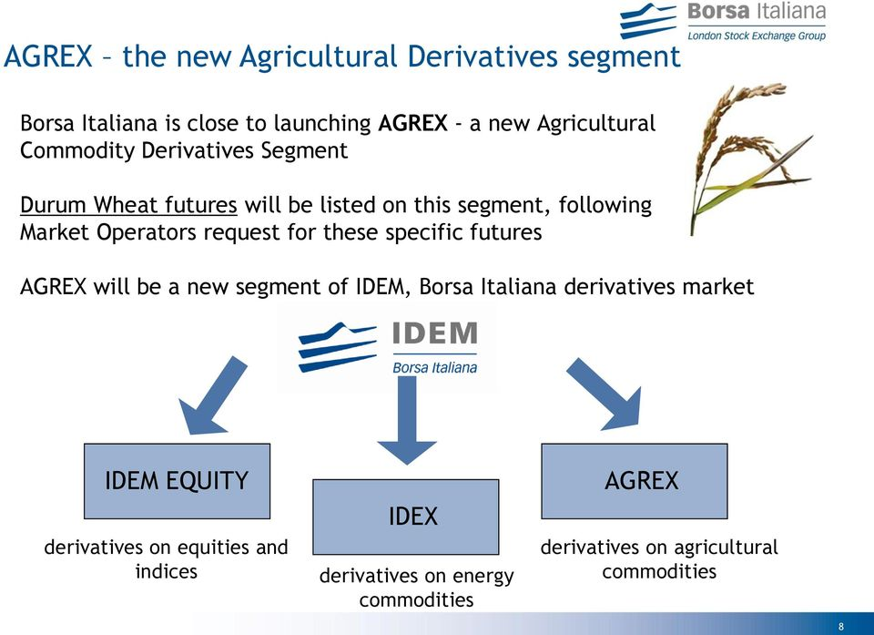 request for these specific futures AGREX will be a new segment of IDEM, Borsa Italiana derivatives market IDEM
