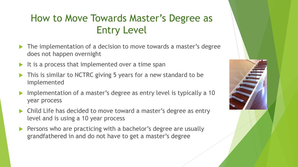 of a master s degree as entry level is typically a 10 year process Child Life has decided to move toward a master s degree as entry level and