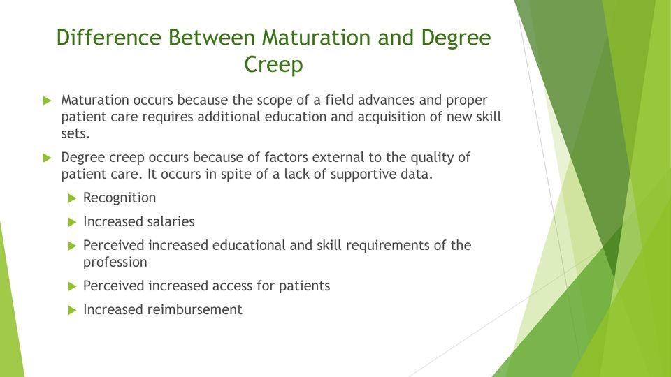 Degree creep occurs because of factors external to the quality of patient care.
