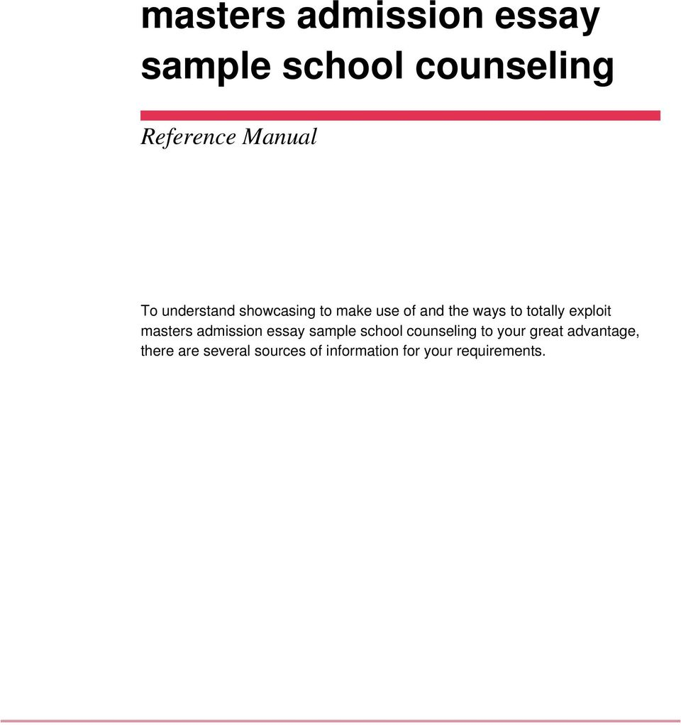masters admission essay sample school counseling to your great