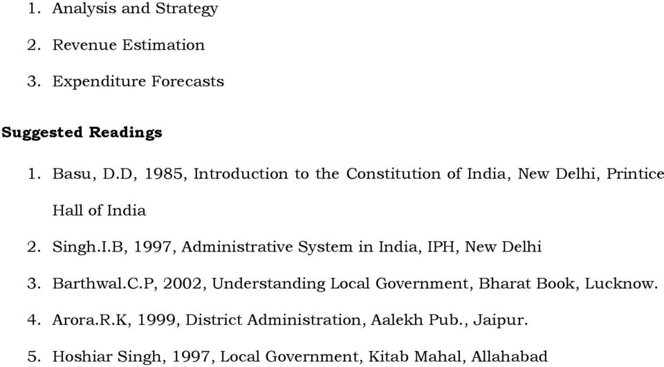 Barthwal.C.P, 2002, Understanding Local Government, Bharat Book, Lucknow. 4. Arora.R.
