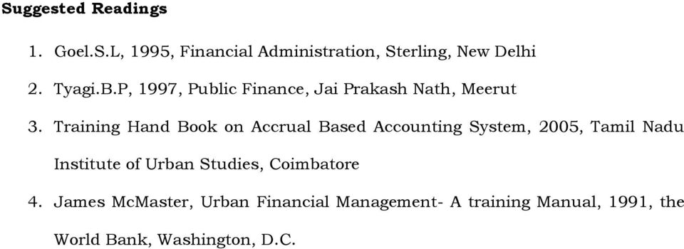 Training Hand Book on Accrual Based Accounting System, 2005, Tamil Nadu Institute of Urban