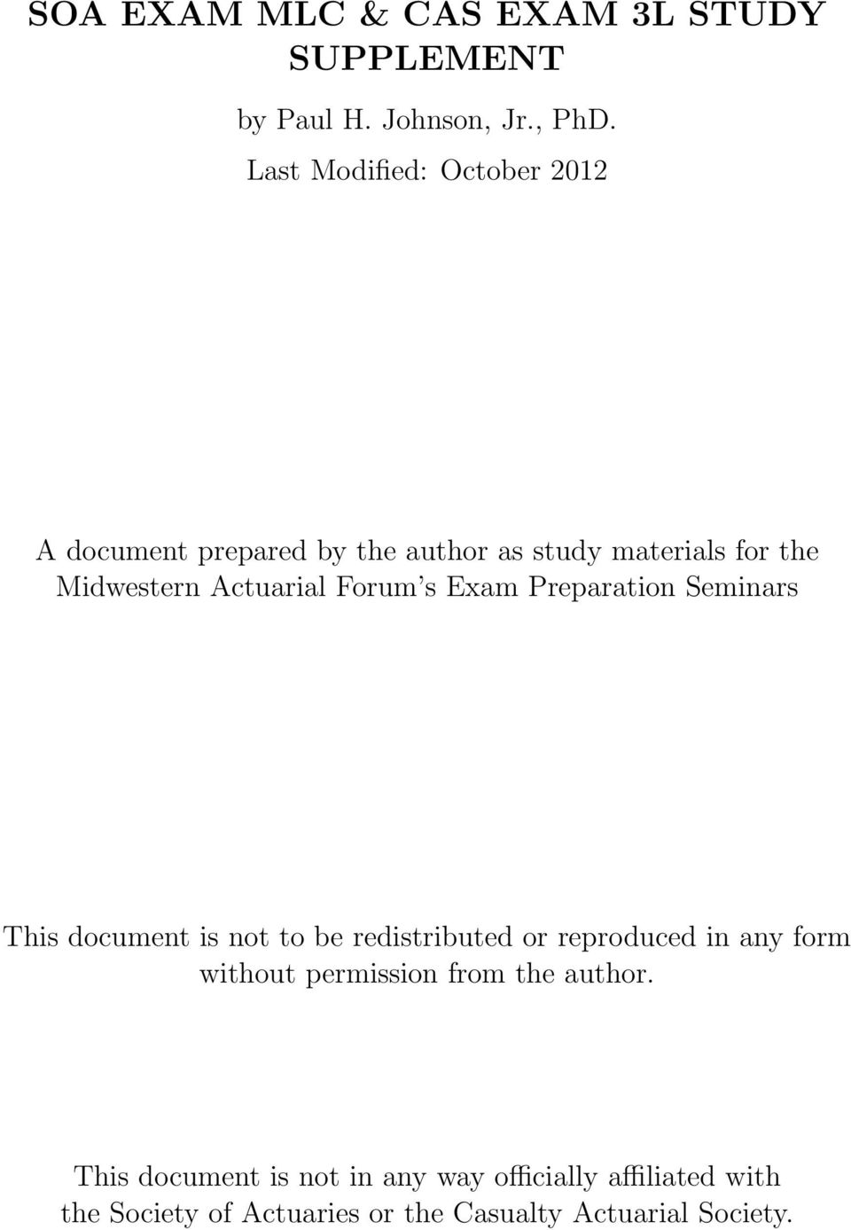 Forum s Exam Preparation Seminars This document is not to be redistributed or reproduced in any form without