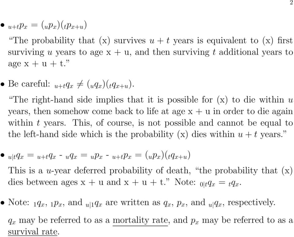 The right-hand side implies that it is possible for (x) to die within u years, then somehow come back to life at age x + u in order to die again within t years.