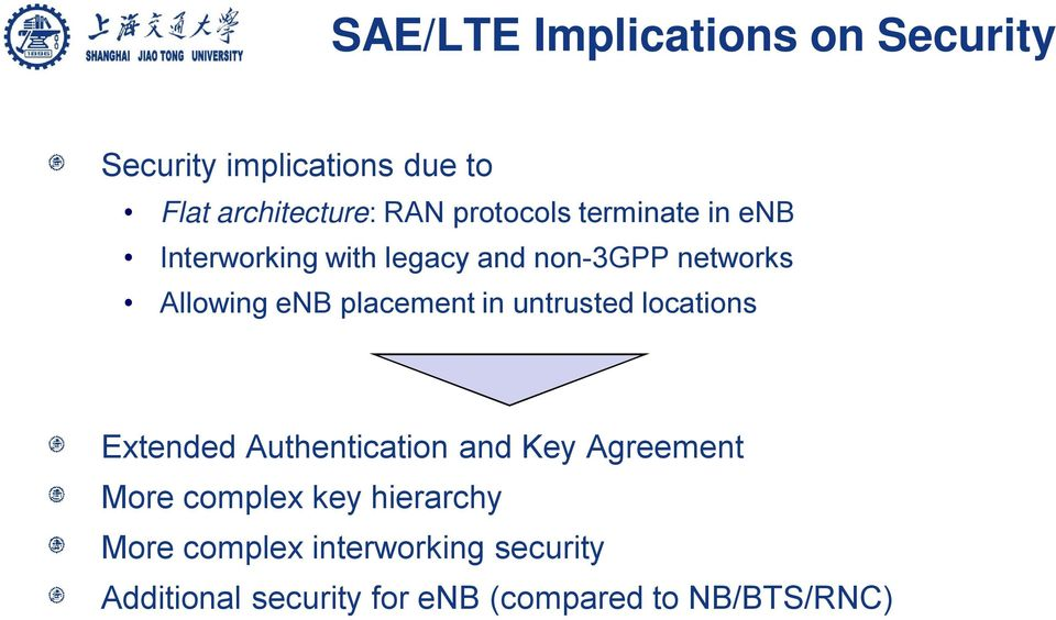 placement in untrusted locations Extended Authentication and Key Agreement More complex