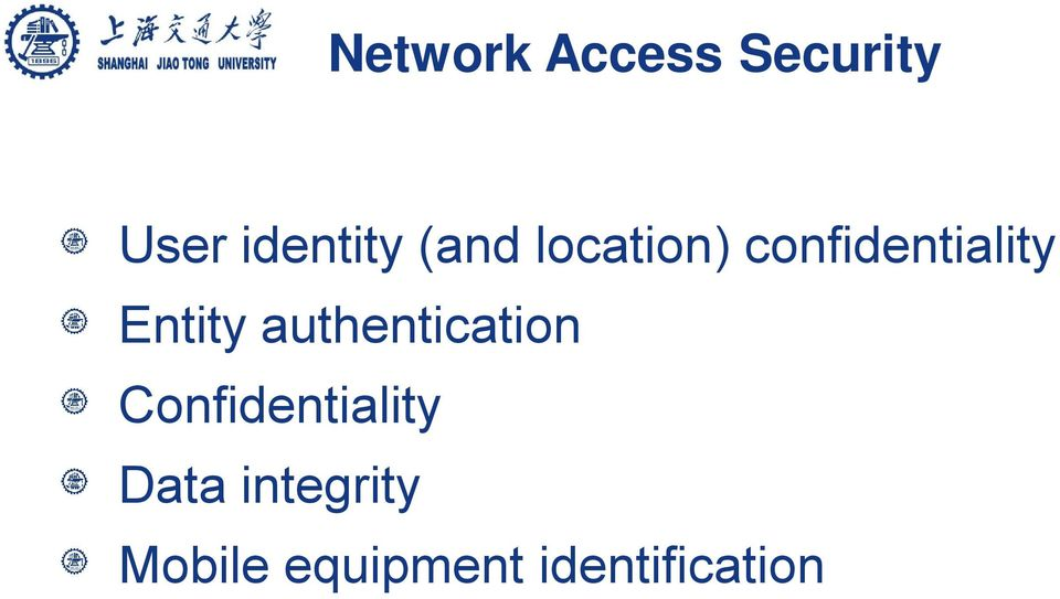 authentication Confidentiality Data