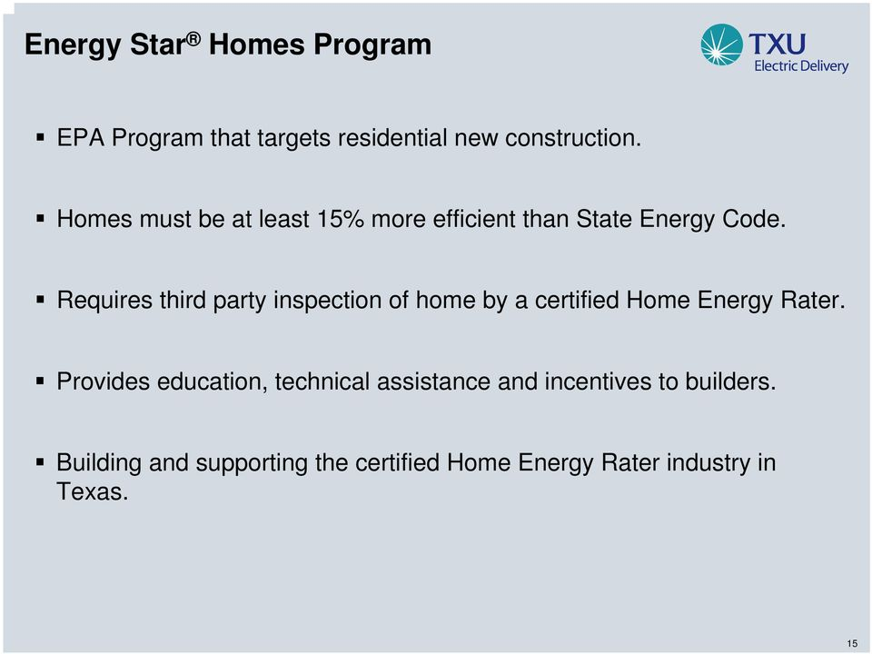 Requires third party inspection of home by a certified Home Energy Rater.