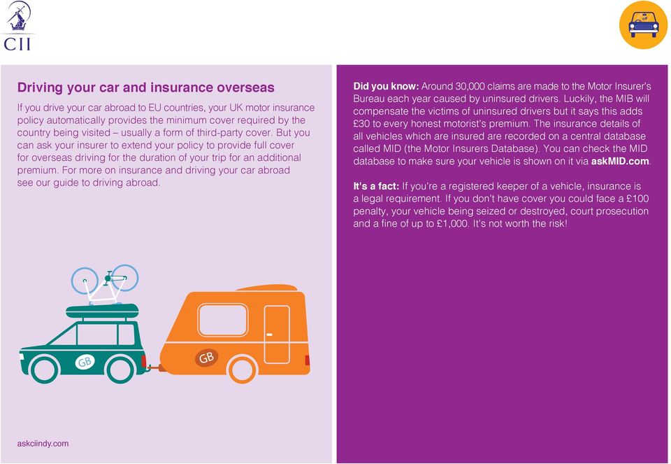 For more on insurance and driving your car abroad see our guide to driving abroad. Did you know: Around 30,000 claims are made to the Motor Insurer's Bureau each year caused by uninsured drivers.