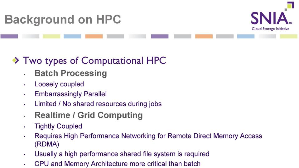 Limited / No shared resources during jobs Realtime / Grid Computing Tightly Coupled Requires