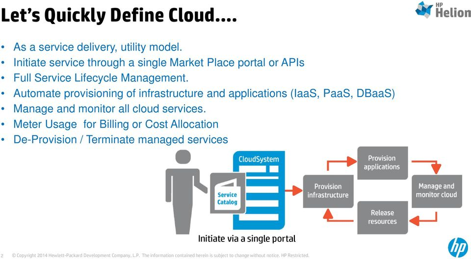 Automate provisioning of infrastructure and applications (IaaS, PaaS, DBaaS) Manage and monitor