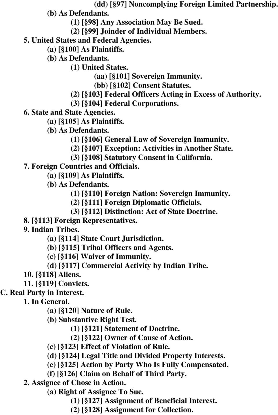(3) [ 104] Federal Corporations. 6. State and State Agencies. (a) [ 105] As Plaintiffs. (b) As Defendants. (1) [ 106] General Law of Sovereign Immunity.