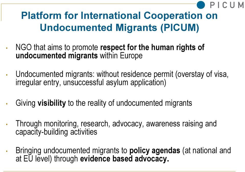 asylum application) Giving visibility to the reality of undocumented migrants Through monitoring, research, advocacy, awareness raising