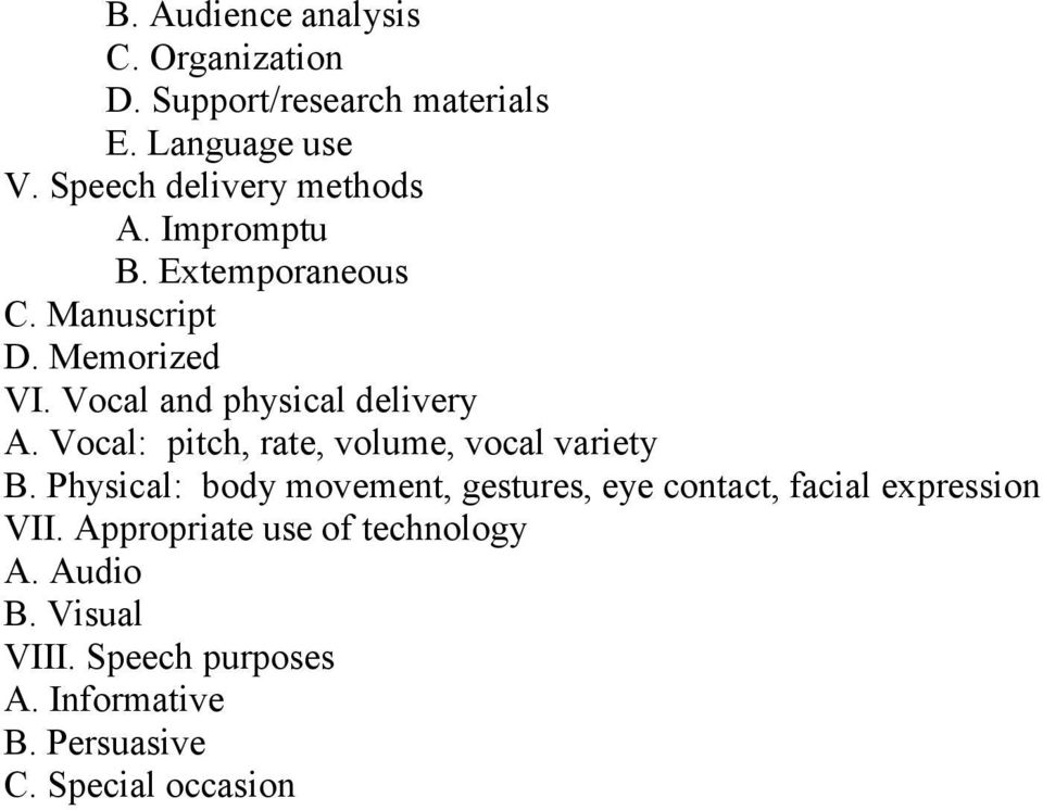 Vocal and physical delivery A. Vocal: pitch, rate, volume, vocal variety B.