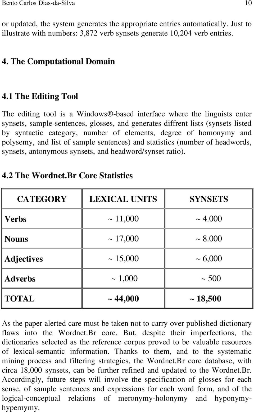 1 The Editing Tool The editing tool is a Windows -based interface where the linguists enter synsets, sample-sentences, glosses, and generates diffrent lists (synsets listed by syntactic category,