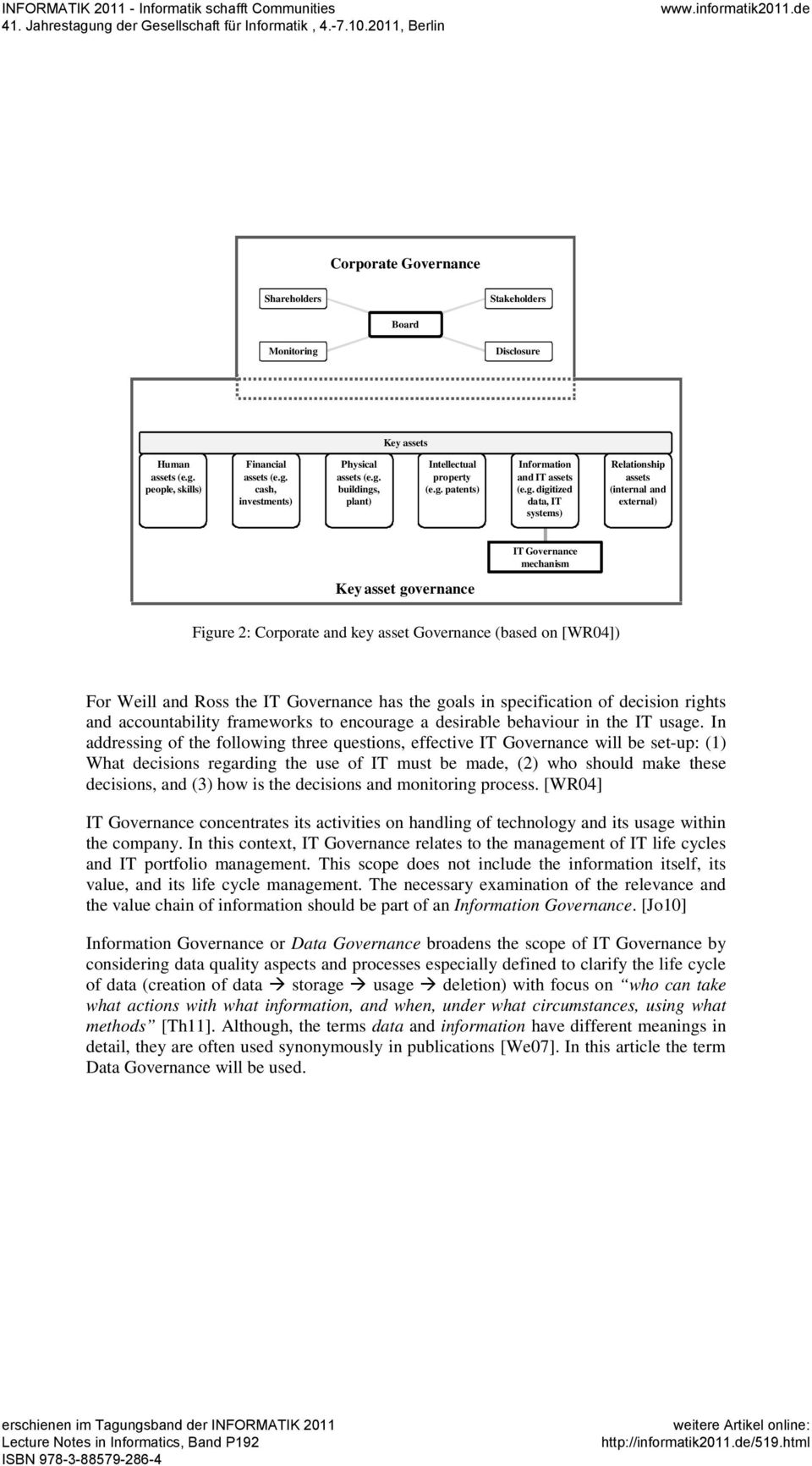 Governance (based on [WR04]) For Weill and Ross the IT Governance has the goals in specification of decision rights and accountability frameworks to encourage a desirable behaviour in the IT usage.