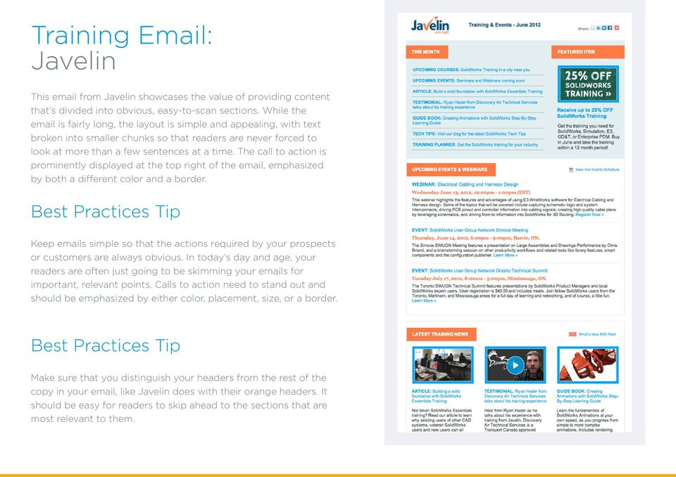 The call to action is prominently displayed at the top right of the email, emphasized by both a different color and a border.