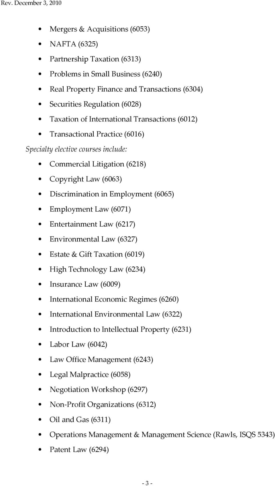 Law (6071) Entertainment Law (6217) Environmental Law (6327) Estate & Gift Taxation (6019) High Technology Law (6234) Insurance Law (6009) International Economic Regimes (6260) International
