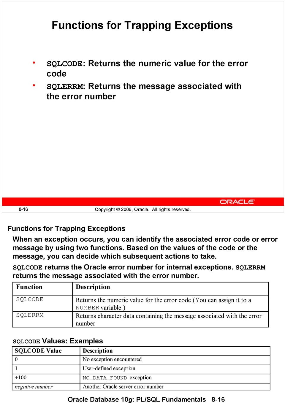 Based on the values of the code or the message, you can decide which subsequent actions to take. SQLCODE returns the Oracle error number for internal exceptions.