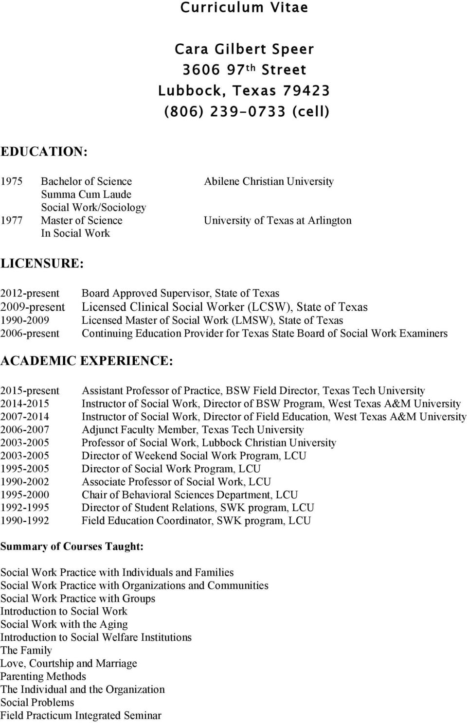 Education Licensure Academic Experience Pdf