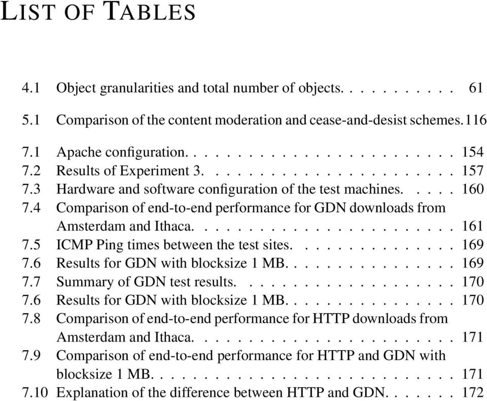 5 ICMP Ping times between the test sites............... 169 7.6 Results for GDN with blocksize 1 MB....169 7.7 Summary of GDN test results....170 7.