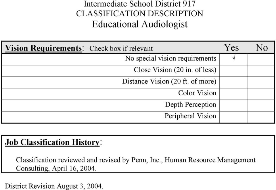 of more) Color Vision Depth Perception Peripheral Vision Job Classification History: