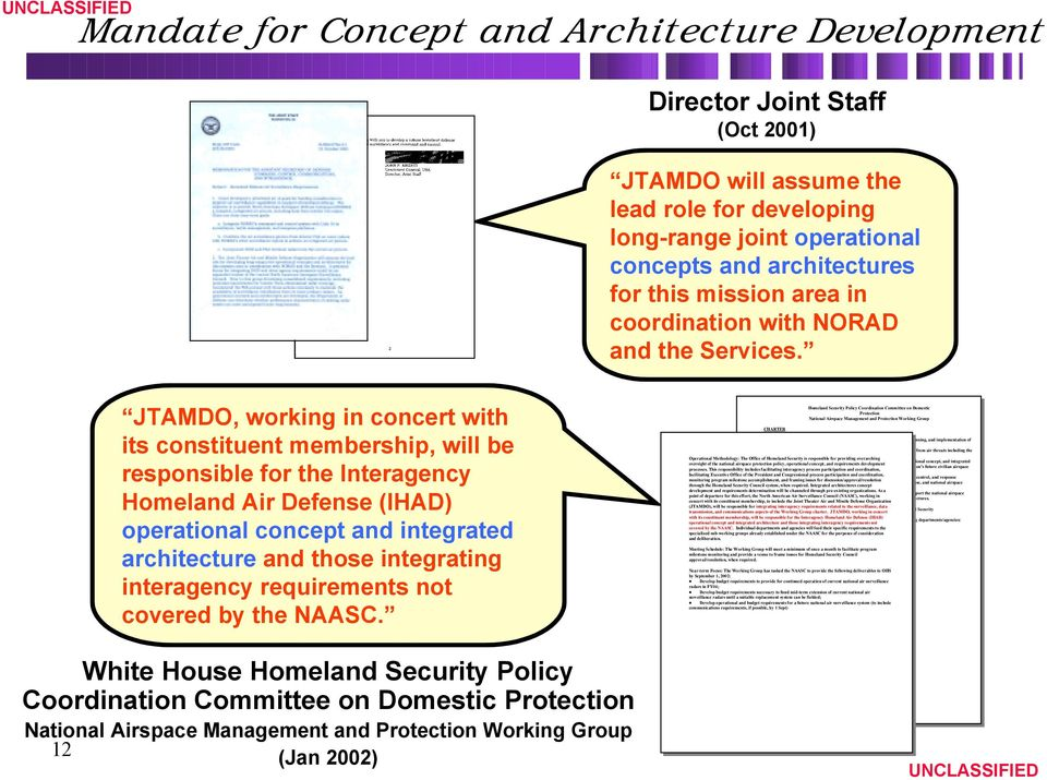 JTAMDO, working in concert with its constituent membership, will be responsible for the Interagency Homeland Air Defense (IHAD) operational concept and integrated architecture and those integrating
