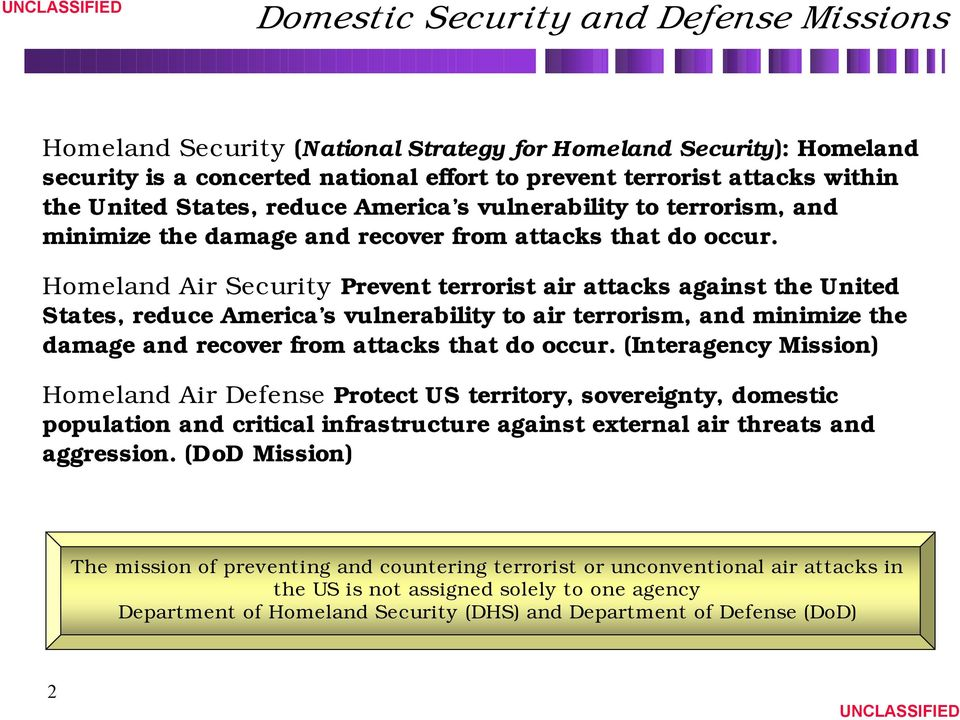 Homeland Air Security Prevent terrorist air attacks against the United States, reduce America s vulnerability to air terrorism, and minimize the damage and recover from attacks that do occur.