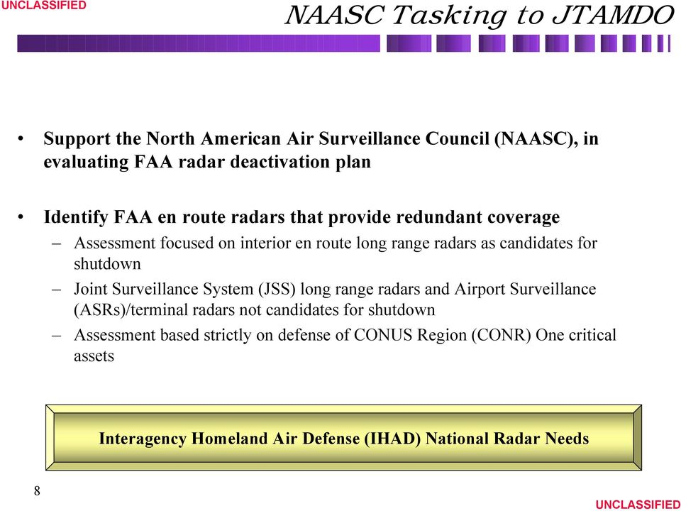 shutdown Joint Surveillance System (JSS) long range radars and Airport Surveillance (ASRs)/terminal radars not candidates for shutdown