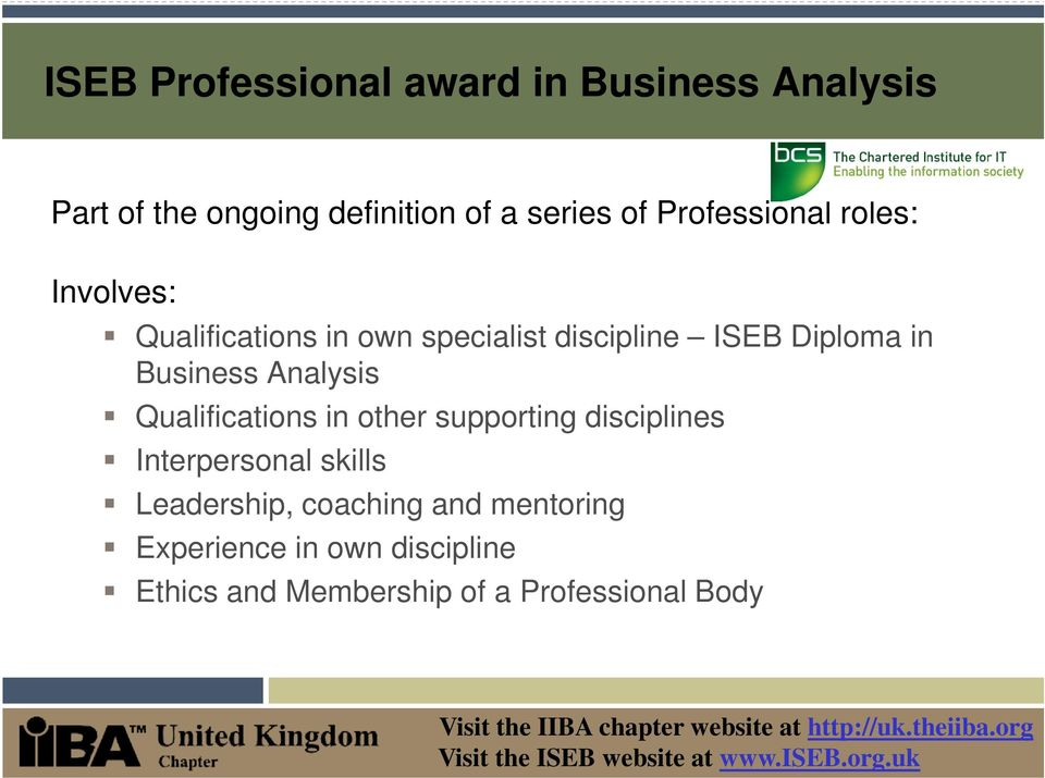 Business Analysis Qualifications in other supporting disciplines Interpersonal skills
