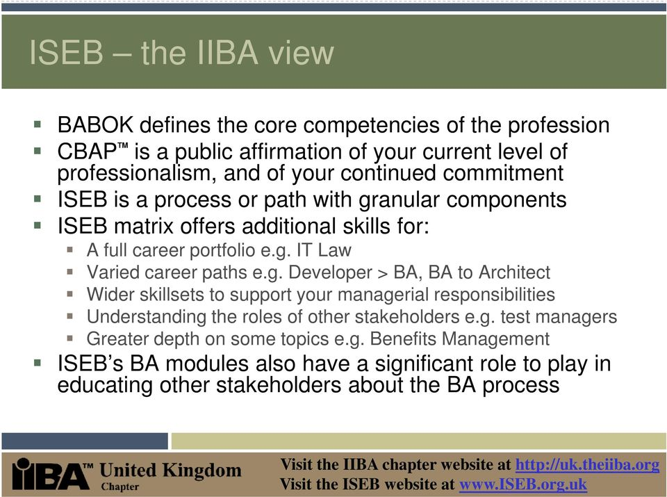 g. Developer > BA, BA to Architect Wider skillsets to support your managerial responsibilities Understanding the roles of other stakeholders e.g. test managers Greater depth on some topics e.