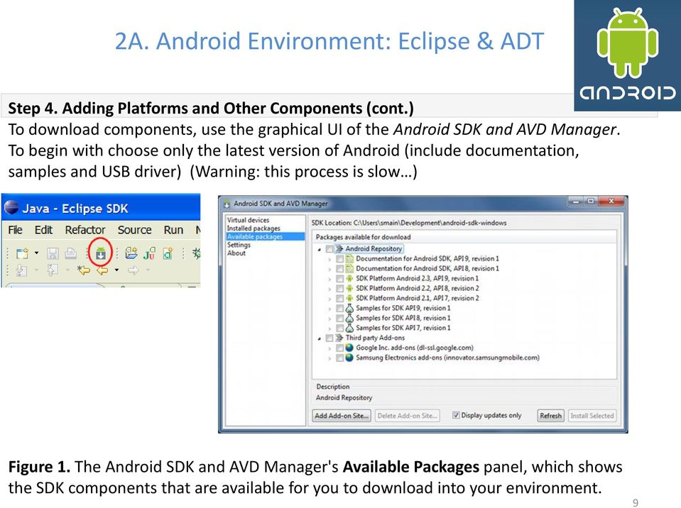 To begin with choose only the latest version of Android (include documentation, samples and USB driver) (Warning: this