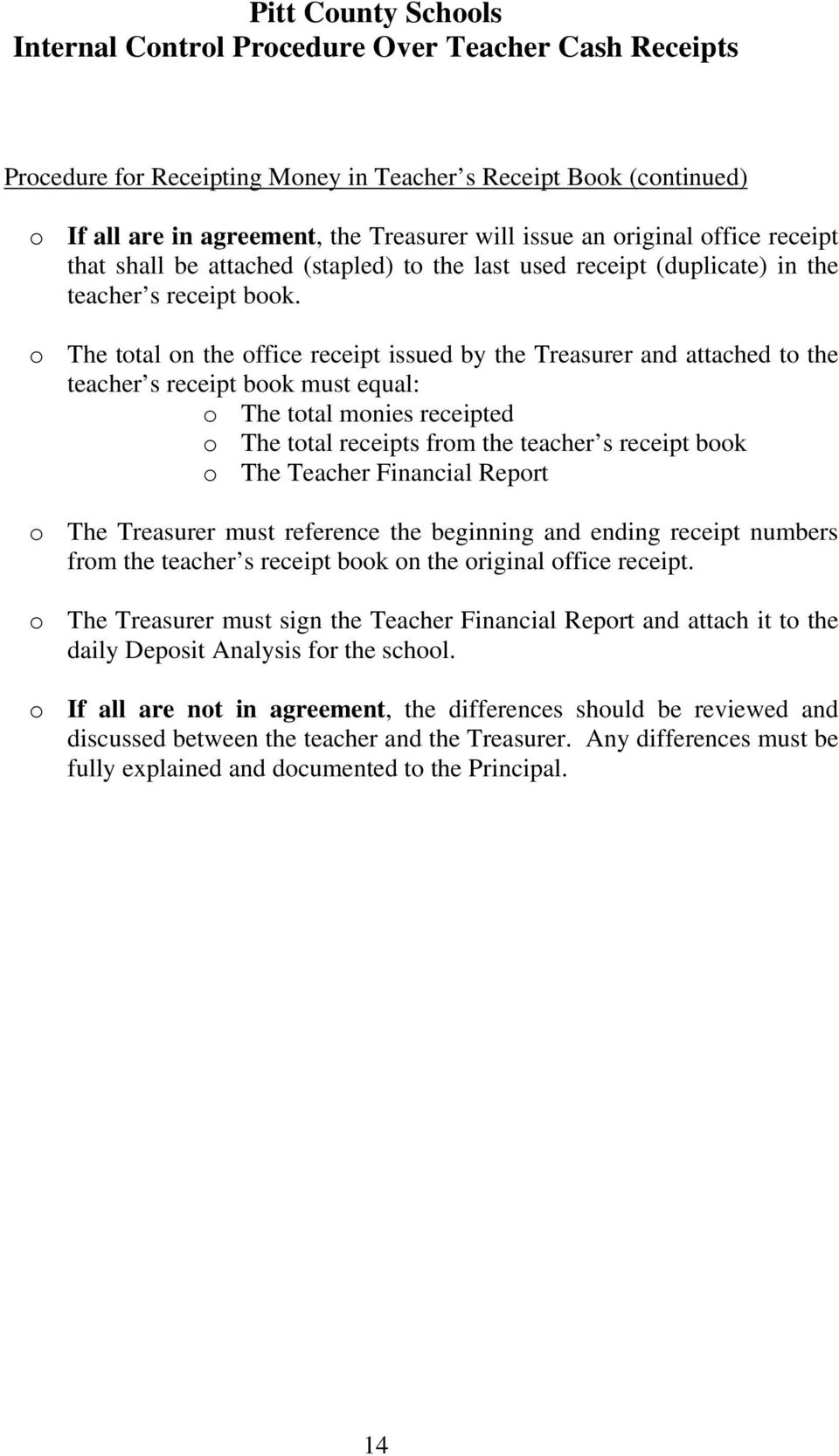 o The total on the office receipt issued by the Treasurer and attached to the teacher s receipt book must equal: o The total monies receipted o The total receipts from the teacher s receipt book o