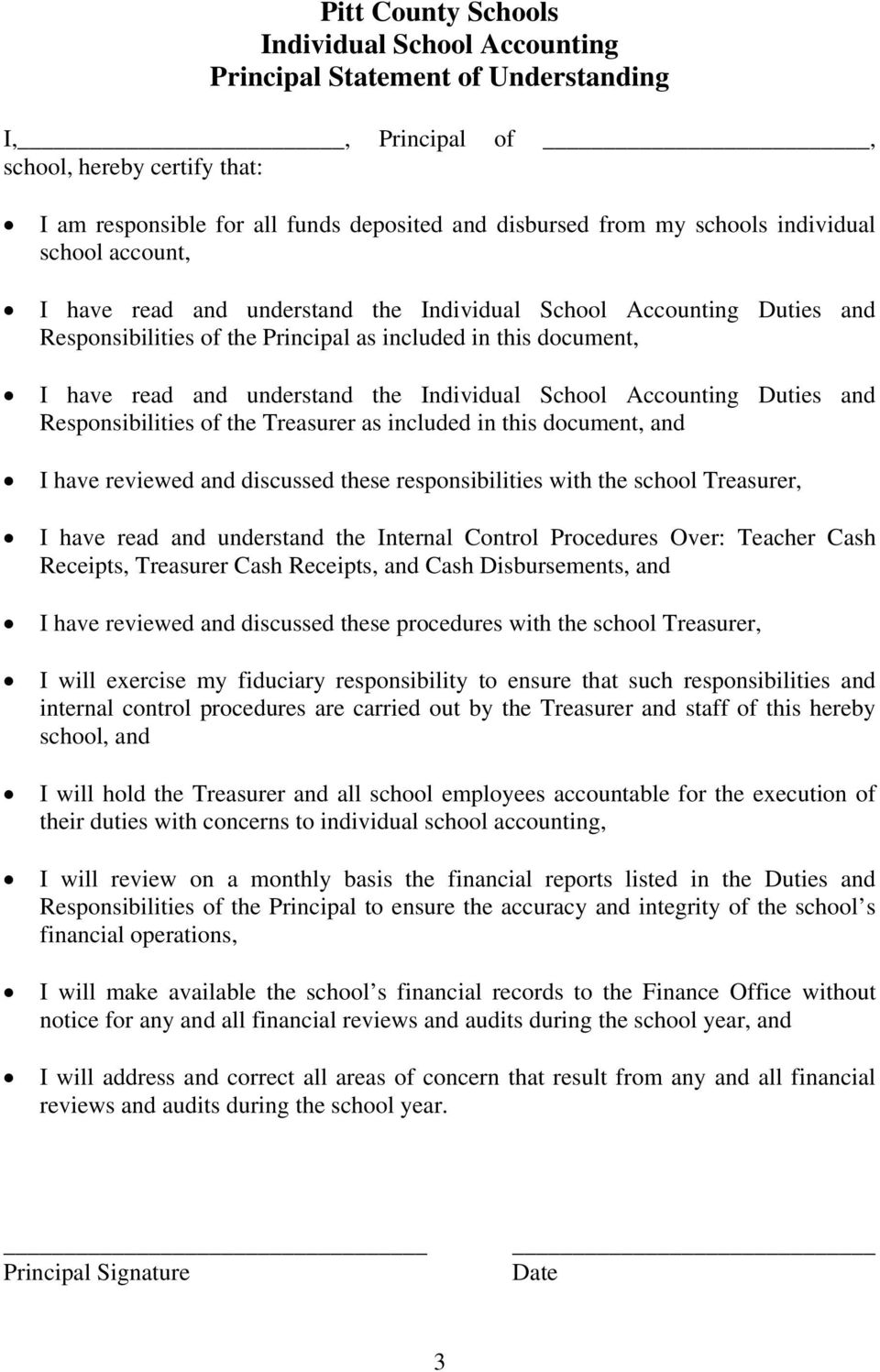 Accounting Duties and Responsibilities of the Treasurer as included in this document, and I have reviewed and discussed these responsibilities with the school Treasurer, I have read and understand