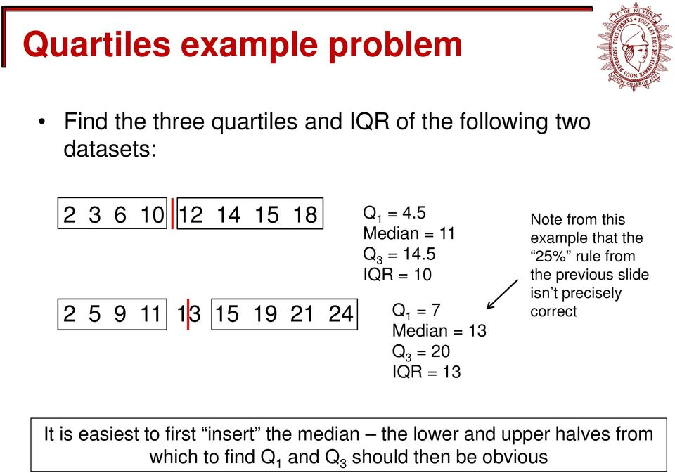 5 IQR = 10 Q 1 = 7 Median = 13 Q 3 = 20 IQR = 13 Note from this example that the 25% rule from the