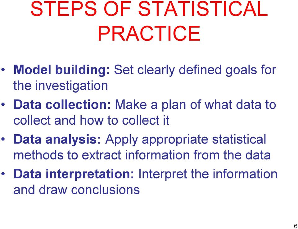 collect it Data analysis: Apply appropriate statistical methods to extract