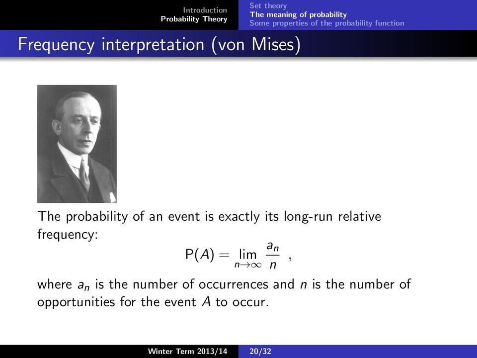 lim n n, where a n is the number of occurrences and n is the