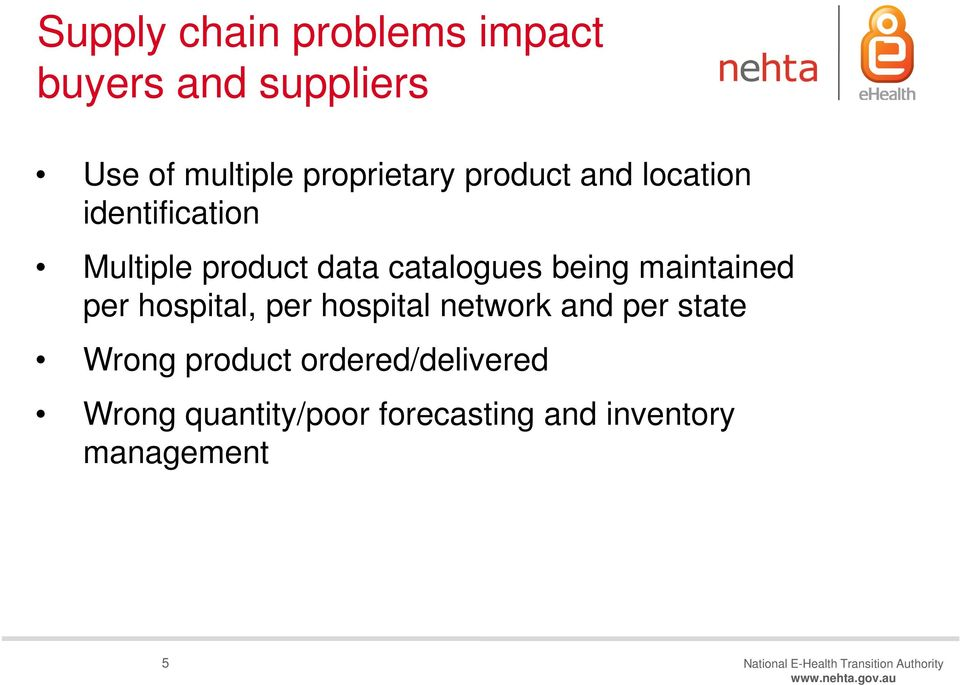 hospital, per hospital network and per state Wrong product ordered/delivered Wrong