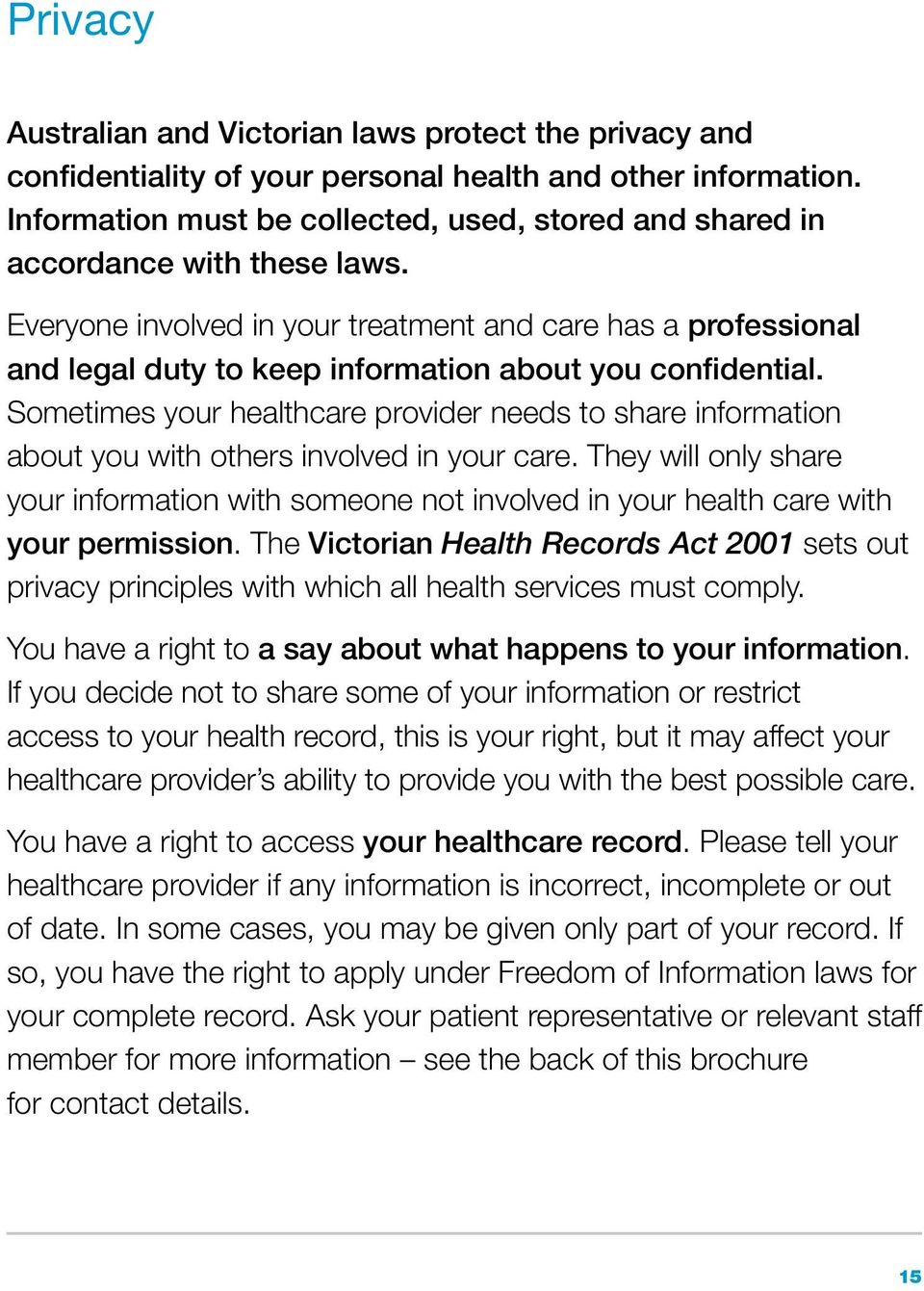 Everyone involved in your treatment and care has a professional and legal duty to keep information about you confidential.